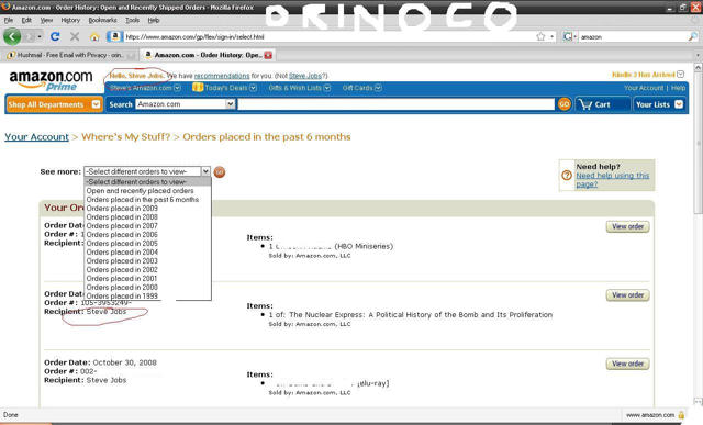A screenshot purporting to show Steve Jobs' Amazon.com account