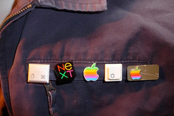 Some rescued Apple symbols as pins. CC-licensed image used with permission, thanks Univac.