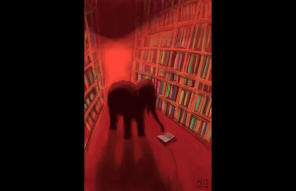 "From the show: ""Elephant in The Library."" @Matthew Watkins"
