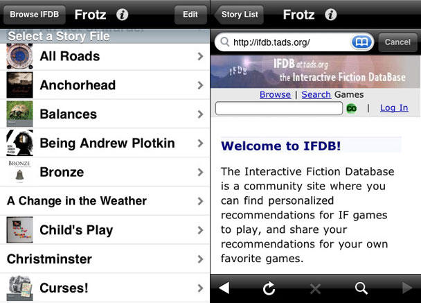 Frotz: text adventure goodness on your iPod touch or iPhone