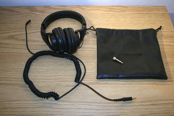In the box: headphones; heavy duty, detachable cable; carry bag; threaded quarter-inch jack adapter