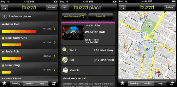 Buzzd iphone app tells you what 39 s buzzing tonight cult for App that tells you what is in a picture