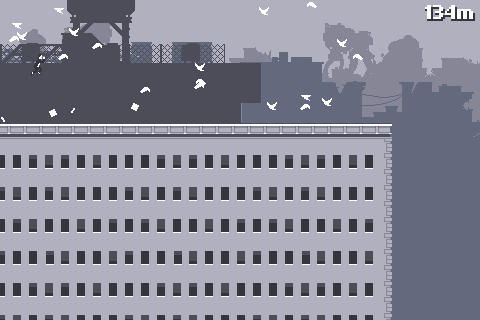 Leaping from rooftop to rooftop, annoying pigeons.