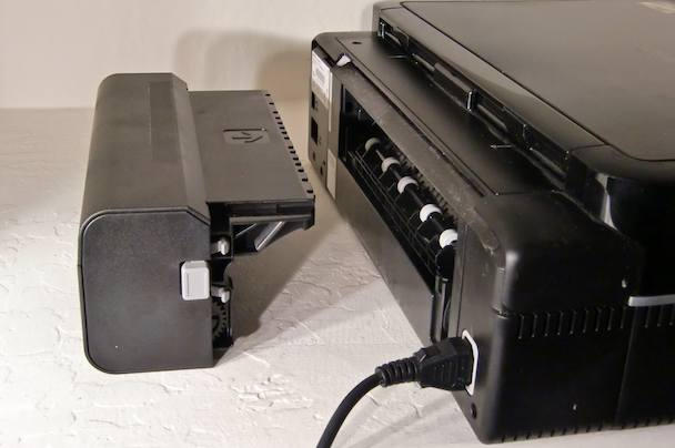 The duplex roller at the printer's rear can be easily detached to save space.
