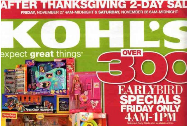 Kohls opens at 4am, Friday, Nov. 27