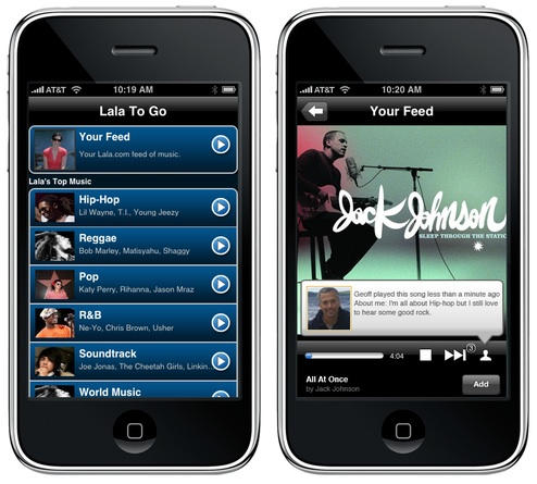 Lala's unreleased iPhone App. Image from Gizmodo.