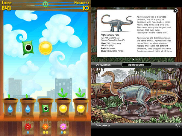 Left: match/drop action puzzler Green Fingers; right: swipe-based dinosaur app DinoMixer