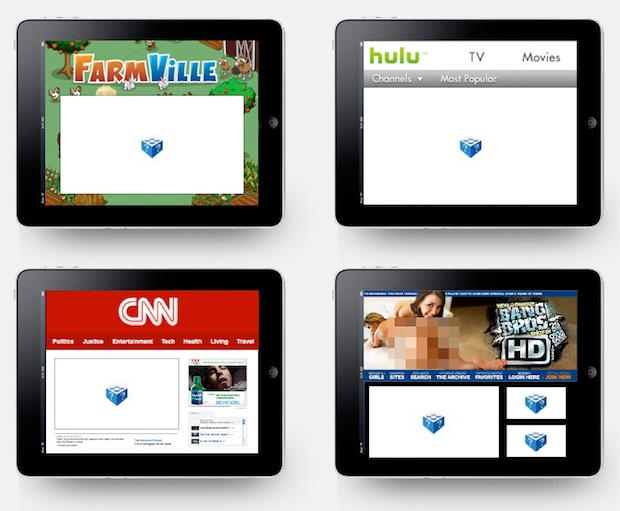 How the web will look on the Flash-less iPad, according to Adobe.