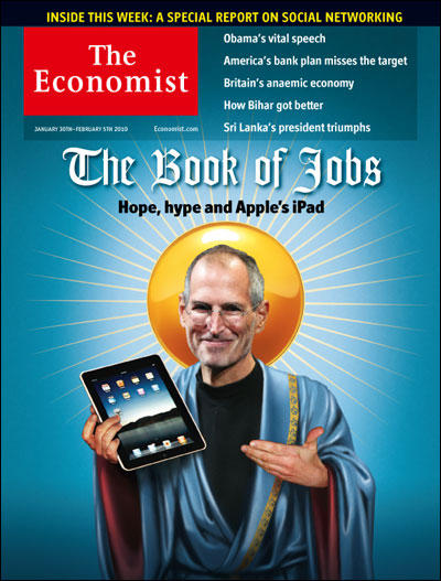 Steve Jobs Makes Cover of Economist With Jesus Tablet and