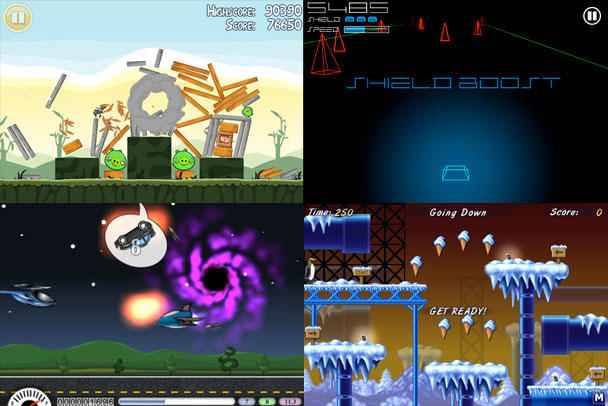 Clockwise from top-left: Angry Birds, Vector Runner, Icy Escort, Sir Revs-a-Lot.