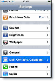 settings mail calendar contacts on iphone