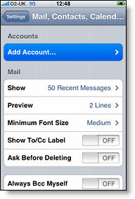 add mail calendar contacts account on iphone