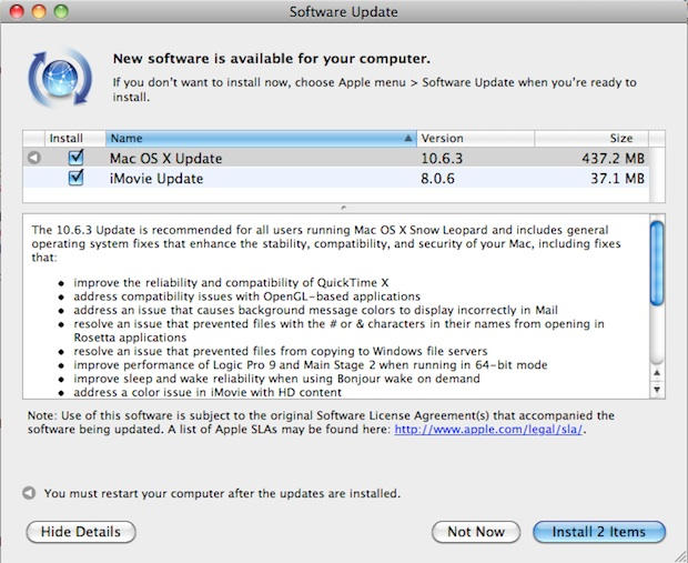 OS X 10 6 3 Update Is Out: Improves QuickTime, OpenGL and
