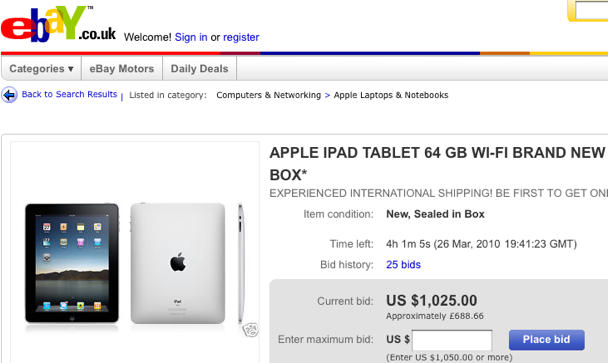 Outside Us Ipad Hits Ebay Before Stores Cult Of Mac