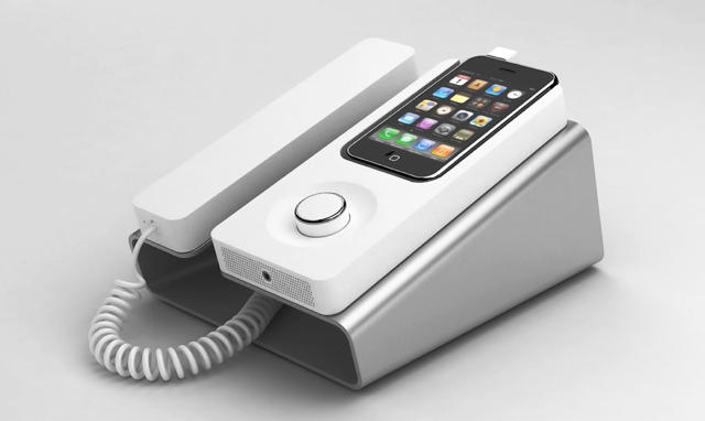 the desk phone dock turns your iphone into a landline speakerphone rh cultofmac com iphone desk phone with speakerphone iphone desk phone dock