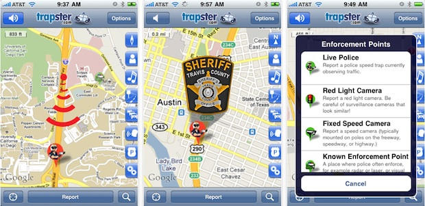 Trapster is a popular iPhone app that alerts drivers to police speed traps, red light cameras and DUI checkpoints. The company has tried to remove DUI checkpoints, but users kept putting them back in.