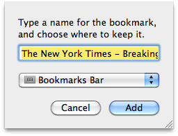 Add Bookmark to Bar