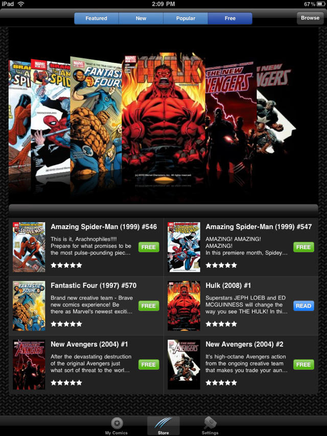 Marvel Comics App for iPad