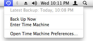 time machine menu
