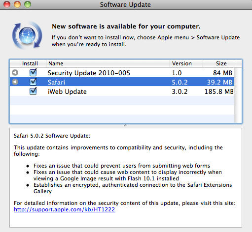 Now Available On Software Update: Safari 5 0 2 and 4 1 2 (Tiger
