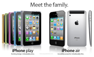 Meet the family. iPhone play: Rocking design. Unbeatable price. iPhone air: Incredibly powerful, unbelievably thin.