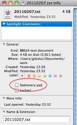 Finding the Stationery Pad checkbox