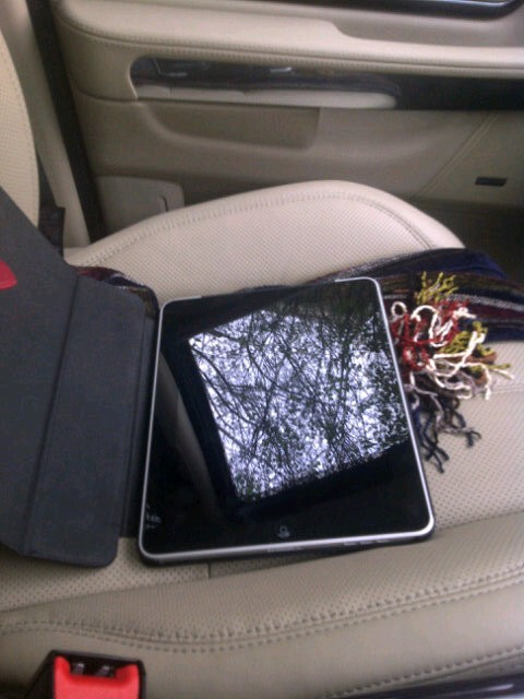 Carling's rescued iPad. He joked that he might test it for fingerprints.