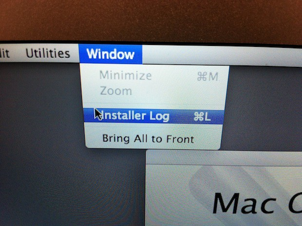 Mac OS X Lion recovery partition tools allow you to view the Installer Log.