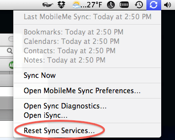 Reset Sync Services