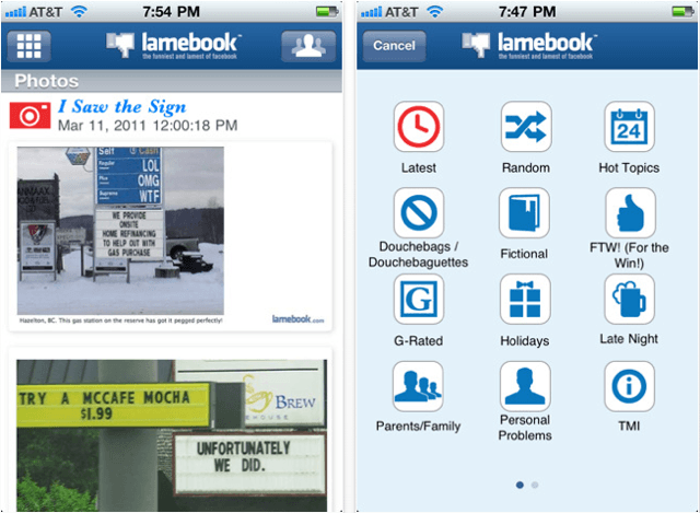 Lamebook for iPhone