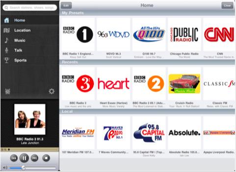 TuneIn Radio iPad