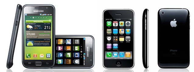 Apple says Samsung's phones and tablets, like the Galaxy S above, rip off its designs.
