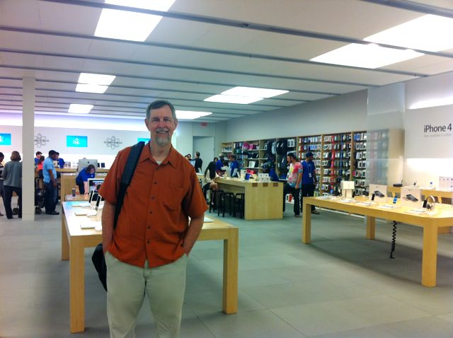 Gary Allen at the first Apple store on the chain's tenth anniversary.