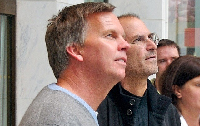 Ron Johnson and Steve Jobs at the grand opening of Apple's 5th Ave. store in New York City.