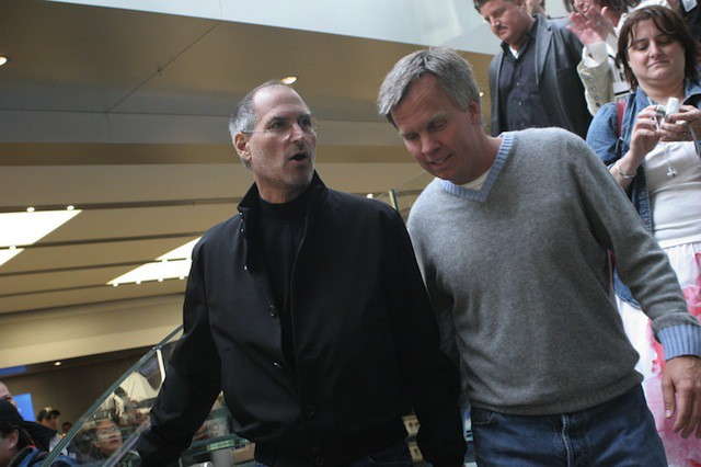 Steve Jobs and Ron Johnson at Apple's Fifth Avenue Apple Store grand opening.