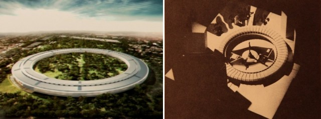 Did Apple borrow the design for its new spaceship-like Cupertino HQ from this retro-futuristic design made for the NYC Columbia Circle Shopping Center back in the 1940s?