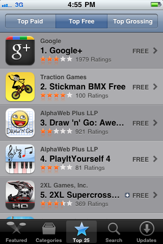 Google+ number one in app store