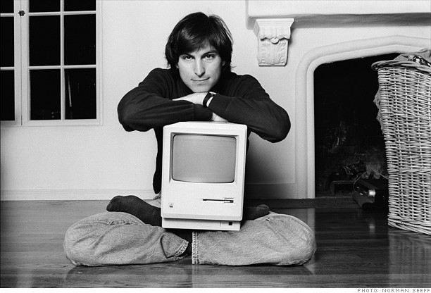 Steve Jobs with Mac retro
