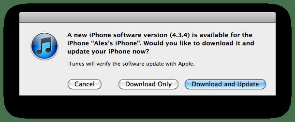 iOS 4.3.4 update