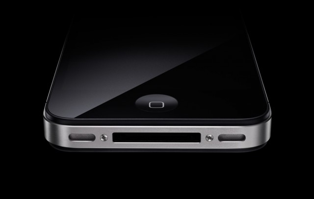 Closeup photo of the bottom of iPhone 4, including the speakers and dock connector
