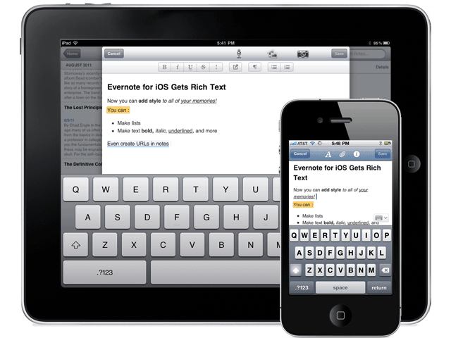Evernote for iOS Gets A Great Update: New iPad Interface