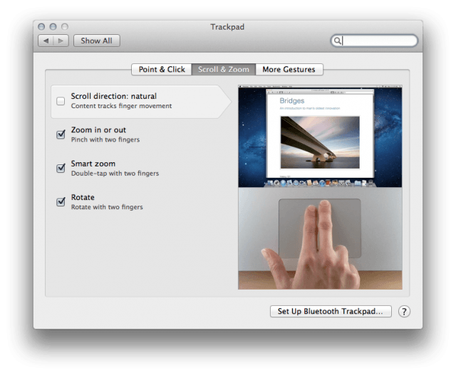 Trackpad scrolling settings Lion