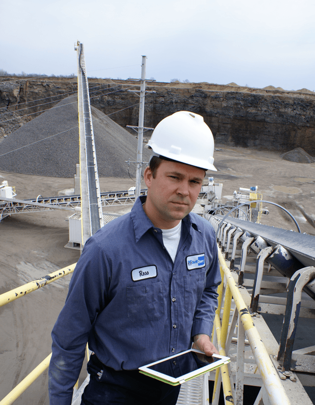 Ross Duff of Huntsville, Ohio's Duff Quarry. The iPad gets operators outside the control room. (Credit: Rock Products Magazine)