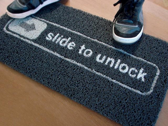 Slide to Unlock Doormat • http://bit.ly/14U5IV