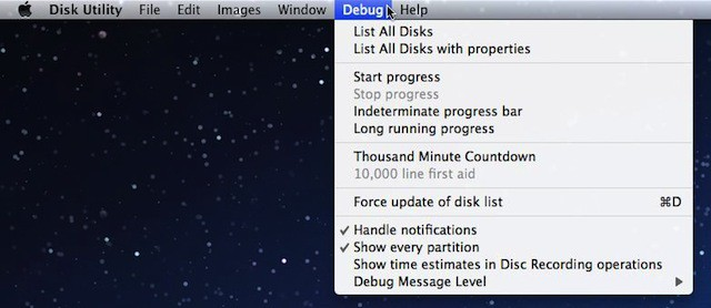 Enable Hidden Secrets and The Debug Menu In Disk Utility [OS X Tips