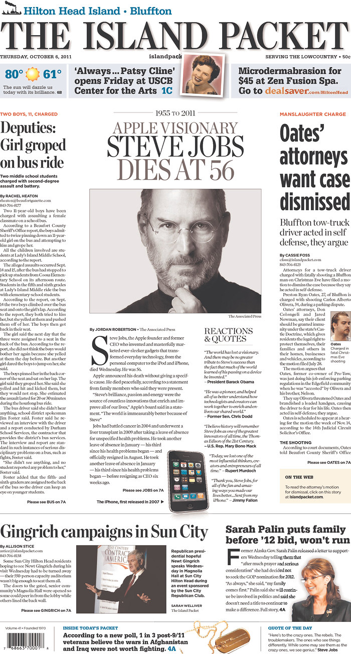 Over 100 Newspaper Front Pages Around The World Mourn Steve Jobs ...
