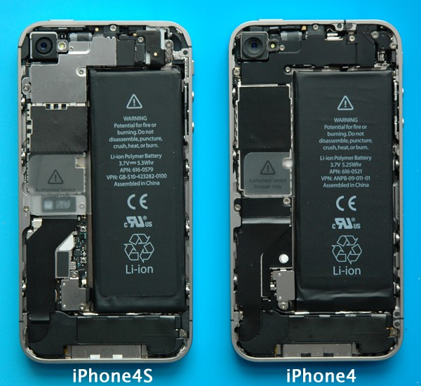 Disassembled IPhone 4S Versus 4