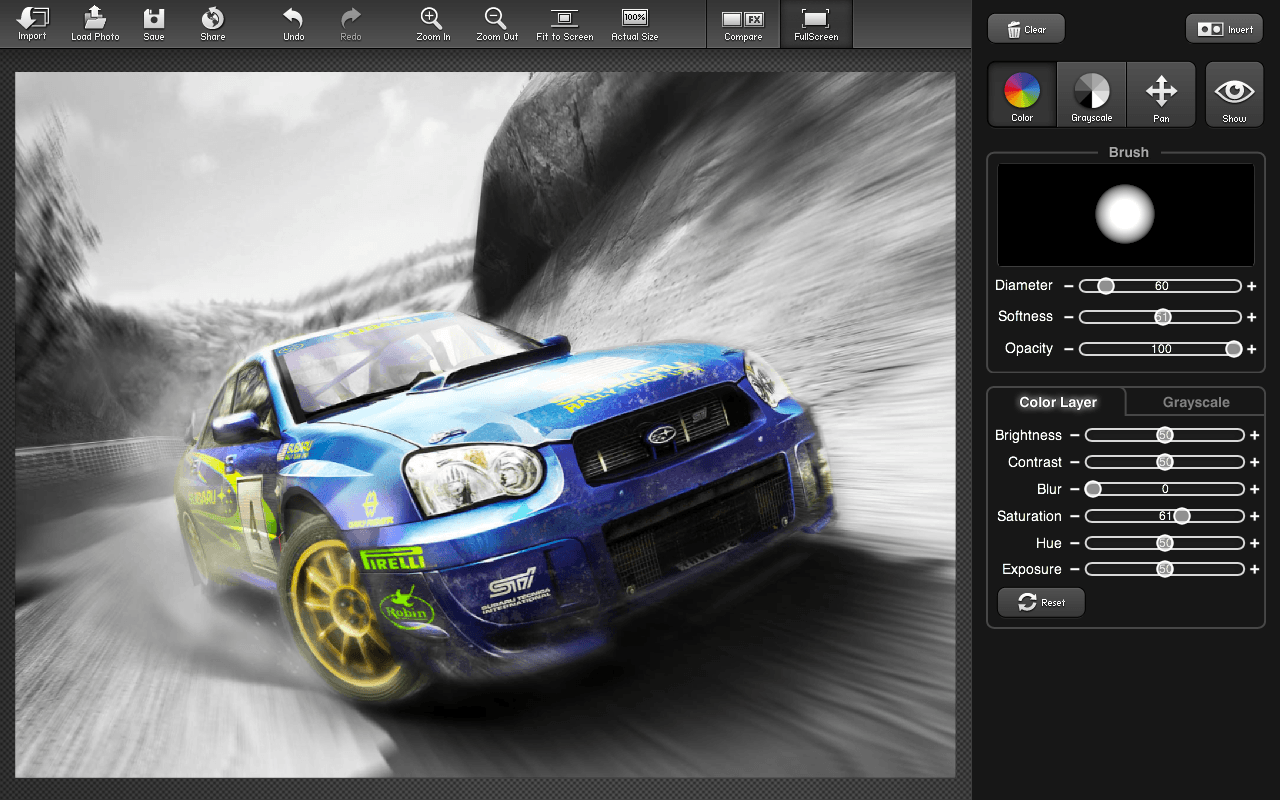 Color Splash Studio - Rally Car Photo