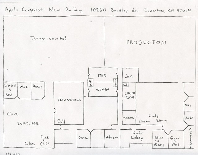 The layout of Apple's Bandley 1 office