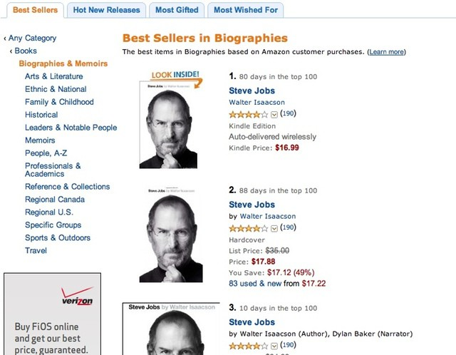 Jobs biography on Amazon's top-selling list.